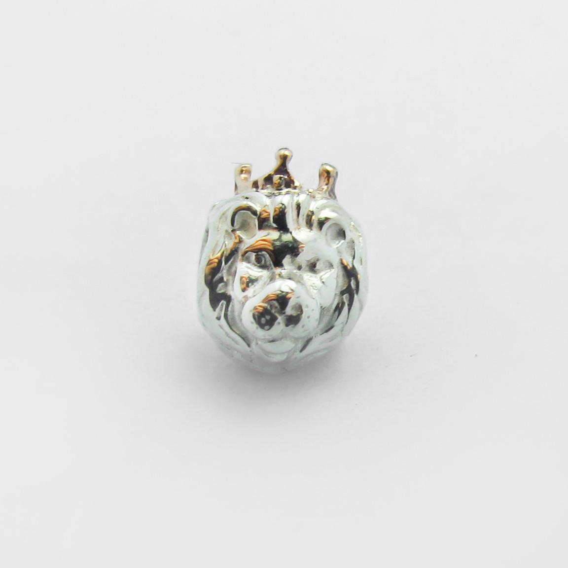 Серебряная Шарм Бусина Pandora Лев с Золотой Короной ЕП 001