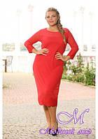 Женское красное платье батальных размеров (р. 48-90) арт. Фортуната
