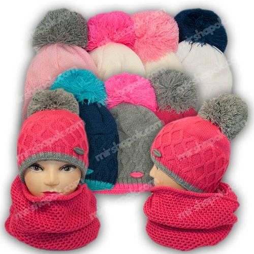 Комплект шапка и шарф (хомут) для девочки, р. 50-52, подкладка флис, 7043