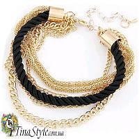 Браслет веревка цепочка многослойный черный цвет Шарм украшения для девушки Новинка шнур ХИТ!