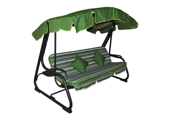 Диван-качеля Deli dralon раскладная. Сидение каркаса качели можно фиксировать с помощью крючков. Наклон крыши регулируется. Основа сидения - металлическая сетка