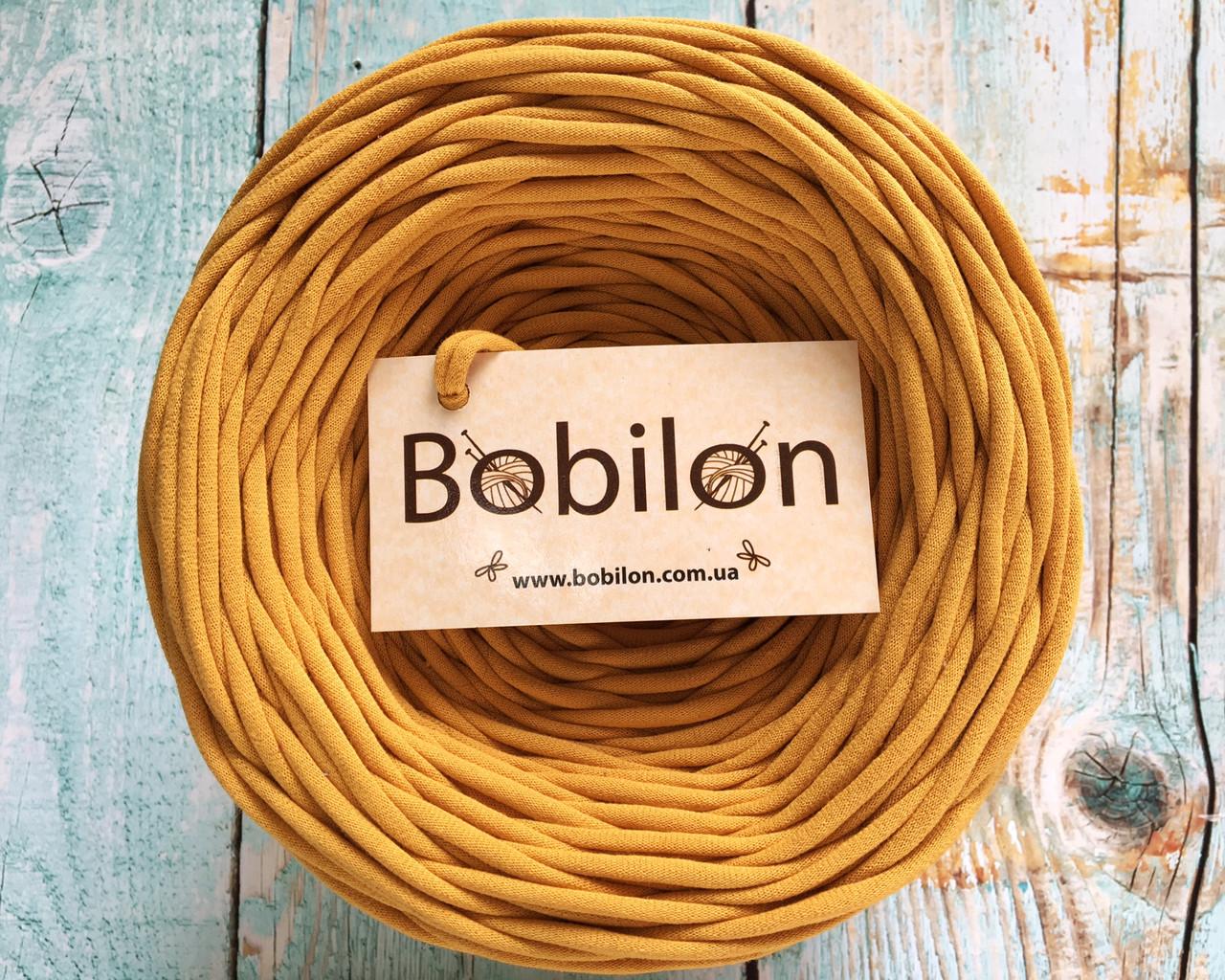 Трикотажная пряжа Bobilon Medium (7-9 мм) Mustard Горчица 50 метров