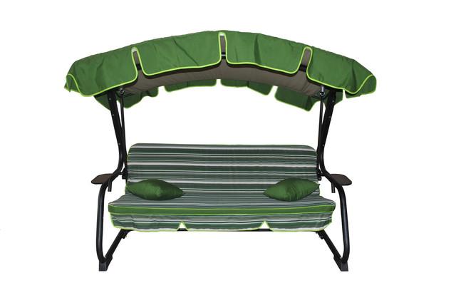Диван-качеля Deli dralon раскладная. Сидение каркаса качели можно фиксировать с помощью крючков. Наклон крыши регулируется. Основа сидения - металлическая сетка.