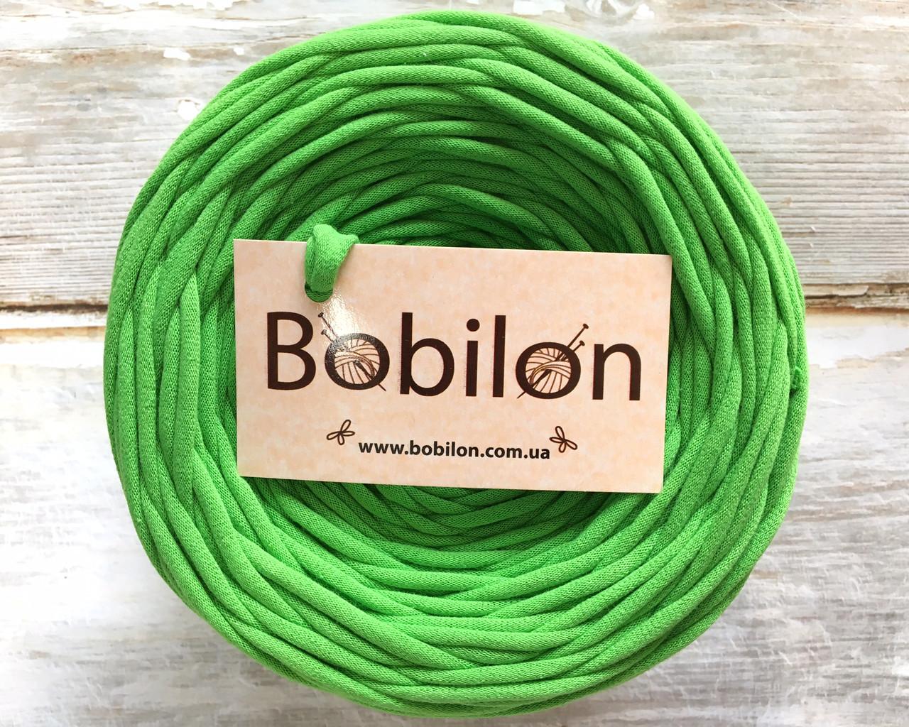 Трикотажная пряжа Bobilon Medium (7-9мм). Зеленое яблоко 50м.