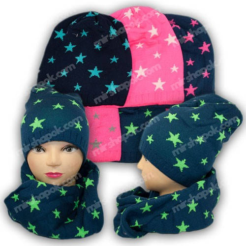 Комплект шапка и шарф (хомут) для девочки, р. 50-52, подкладка флис, 7003