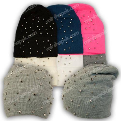 Вязаная шапка с отворотом для девочки, р. 52-54, подкладка флис, 7040