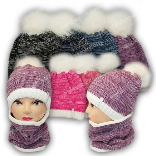 ОПТ Комплект шапка и шарф (хомут) для девочки, р. 52-54, подкладка флис, 7008 (5шт/набор)