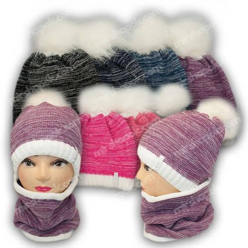 Комплект шапка и шарф (хомут) для девочки, р. 52-54, подкладка флис, 7008