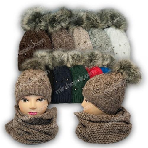 Комплект шапка и шарф (хомут) для девочки, р. 52-54, подкладка флис, 7061