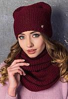 Женский вязаный комплект шапка с ушками и хомут в разных цветах