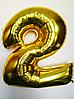 """Фольгированные шары цифры """"2"""" 40"""" (100 см) Золото Balloons"""
