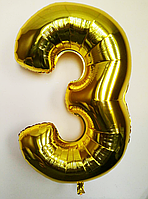 """Фольгированный шар цифра 100 см """"3"""" золото без упаковки"""