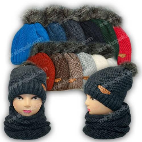 Комплект шапка и шарф (хомут), р. 52-54, подкладка флис, 7019