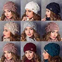 Женский комплект шапка и хомут труба объёмная вязка коса в разных цветах
