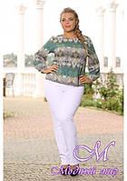 Штапельная женская блуза большого размера (р. 48-90) арт. Анжелика