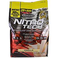 Muscletech, Серия Достижение, Nitro-Tech, Изолят молочной сыворотки для наращивания сухой мышечной массы, Ваниль, 10 фунтов (4,54 кг)
