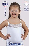 """Майка белая для девочек """"Кружева"""" ТМ Baykar  4382"""