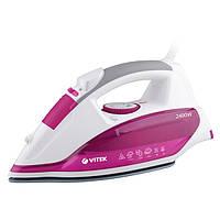 #138836 - Утюг Vitek VT-1262 White/Pink, 2400W, вертикальное отпаривание, защита от накипи, материал подошвы Ultra Care - антипригарное покрытие,