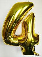 """Фольгированные шары цифры """"4"""" 40"""" (100 см) Золото Balloons"""