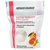 Smith & Vandiver, Терапевтические очищающие бомбочки для ванны с эфирными маслами розового грейпфрута и имбиря, 4 шипучих шарика для ванны по 0,8
