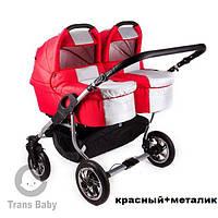 Детская коляска 2 в 1 для двойни Trans Baby Jumper Duo красный металлик
