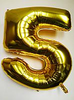 """Фольгированные шары цифры """"5"""" 40"""" (100 см) Золото Balloons"""