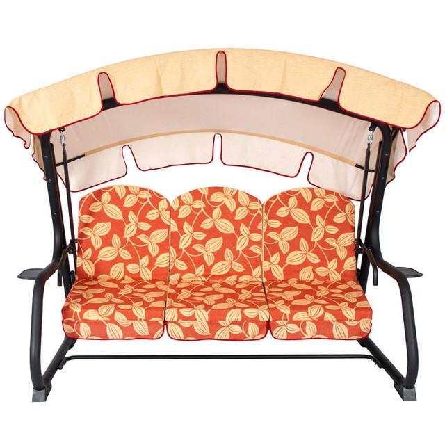 Диван-качеля Deli coton раскладная. Сидение каркаса качели можно фиксировать с помощью крючков. Наклон крыши регулируется. Основа сидения - металлическая сетка.