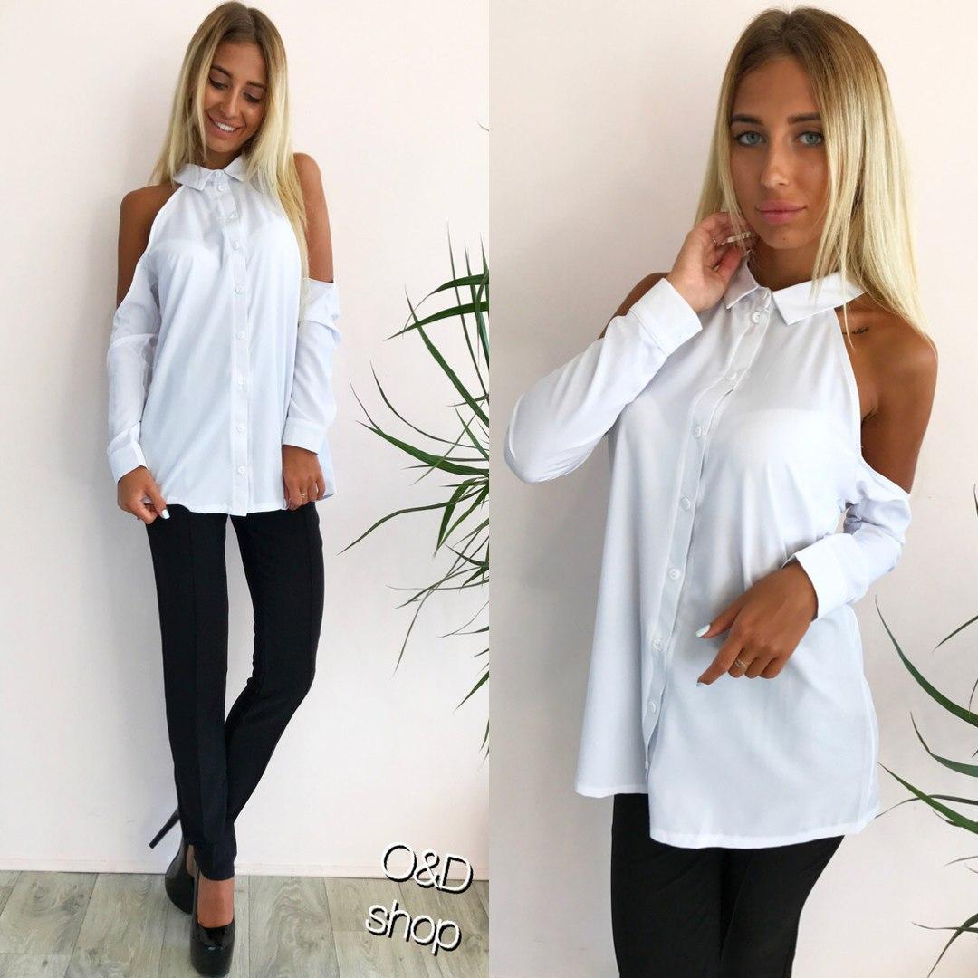 Белая рубашка с открытыми плечами k-271334