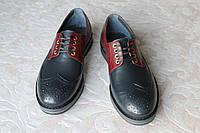 Туфли кожаные сине-бордовые