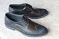 Туфли кожаные сине-коричневые