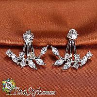 Серьги сережки Элегантные кристаллы цветок листья Стильные