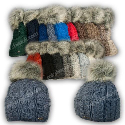 ОПТ Вязаная шапка с помпоном для девочки, р. 52-54, подкладка флис, 7055 (5шт/набор)
