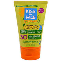 Kiss My Face, Органический детский минеральный солнцезащитный крем для лица и тела, SPF 30, 3,4 жидкой унции (100 мл)