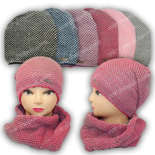 Комплект шапка и шарф (хомут) для девочки, р. 52-54, подкладка флис, 8265