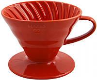 Пуровер Hario V60 02 Red Ceramic (600 мл) для заваривания фильтр-кофе, фото 1