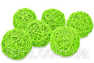 Ротанговый шарик 3 см, зеленый