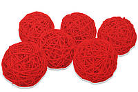 Ротанговый шарик 3 см, красный