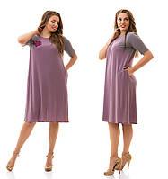 Женское модное платье MIDI больших размеров с карманами №914 (р. 48-62)
