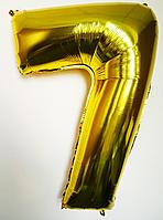 """Фольгированный шар цифра 100 см """"7"""" золото"""