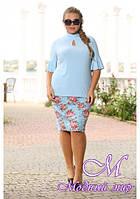 Женская голубая блуза большого размера (р. 48-90) арт. Новелла