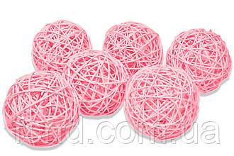 Ротанговый шарик 3 см, розовый