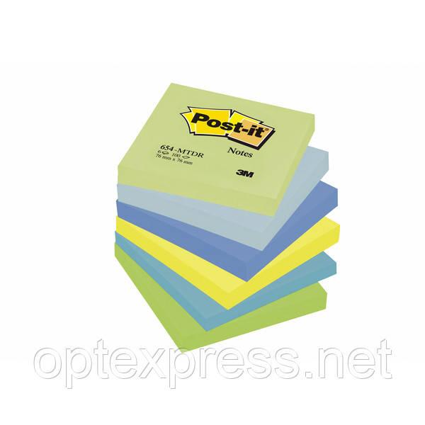 3М 654-MTDR  Post-It  цветные стикеры 76 х76мм  100л х6 шт.