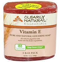 Clearly Natural, Чистое и натуральное глицериновое мыло, витамин Е 3 Bar Pack, 4 унциикаждый