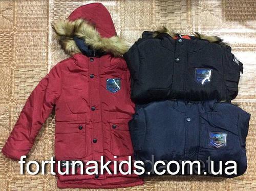 Куртки зимние на меху для мальчиков GRACE 4-12 лет