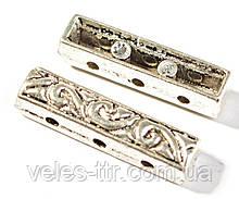 Разделитель на 3 нити серебро античное 17х4х4 мм