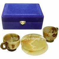 Две чашки из натурального камня  оникса с блюдцами