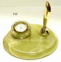Круглые офисные часы из  оникса с держателем для ручки латунь