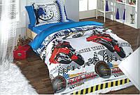 """Полуторный комплект постельного белья с детским рисунком """"Мотоциклист"""" 150х220 из бязи"""