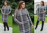 """Элегантное женское пальто в больших размерах 255-1 """"Кашемир Барберри Кармашки Пуговицы"""" в расцветках"""