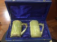Пивные бокалы из натурального камня оникса набор 2 шт